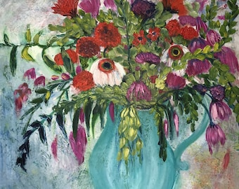 Vase of Purple and Red FLowers, original oil painting