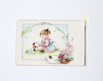 Mother's Day card, greeting card, baby postcard, little girl writing, unused,  Mother's Day
