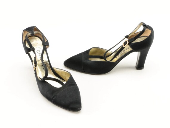 Vintage Chanel d'Orsay heels in black satin with rhinestone buckles, 1990s, size 36.