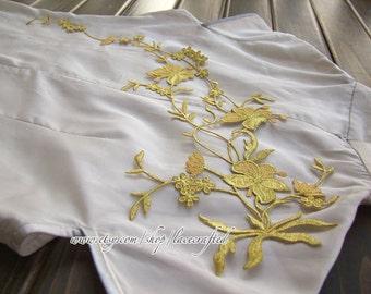 Gold Silvery Navy Blue Army Green Leaf Flower Vine Applique Patch Trim Flower Applique- Iron on Applique