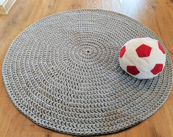 Crocheted round cotton grey rug Bathroom rug Teepee rug Crochet Rug Round Crochet carpet Nursery rug Kids room rug Bedroom rug Piggiesbutton