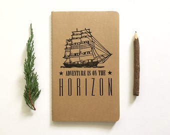 SALE! Letterpress Moleskine Journal - Adventure is on the Horizon Ship