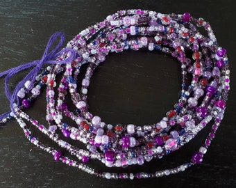 Multicolor waist beads with crystals, stranded on cotton thread, 42/44 inches, Fair Trade