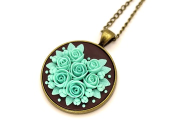 Mint Pendant Necklace Floral Necklace Floral Pendant Mint Green Roses Polymer Clay Floral Jewelry Feminine Romantic Pendant Minty Turquoise