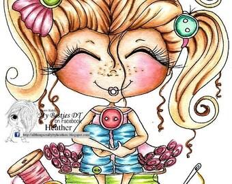 INSTANT DOWNLOAD Digital Digi Stamps Big Eye Big Head Dolls NEW My Besties img831 Sewin Bestie By Sherri Baldy