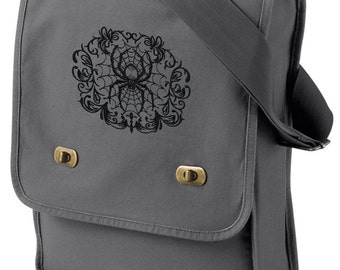 Gothic Gala Spiderweb Embroidered Canvas Field Bag