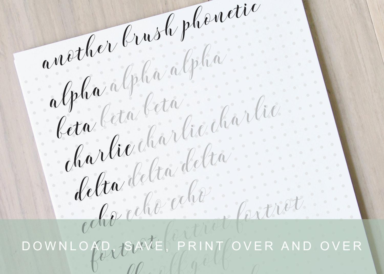 Intermediate bouncy brush lettering worksheet modern calligraphy