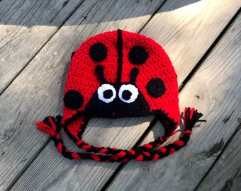 Crochet lady bug beanie hat with ear covers and braids