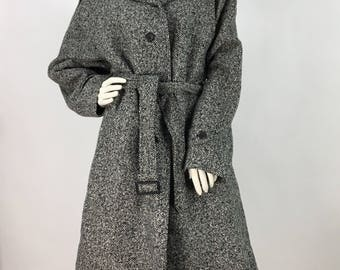 80s grey tweed coat/salt and pepper tweed coat/oversized wool blend