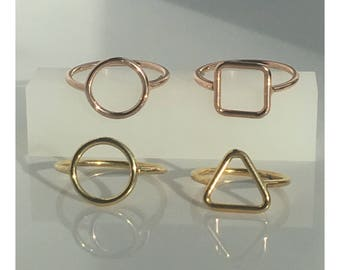 925 Sterling Silver Geometric Ring in Yellow Or Rose Gold Vermeil Finish, Handmade