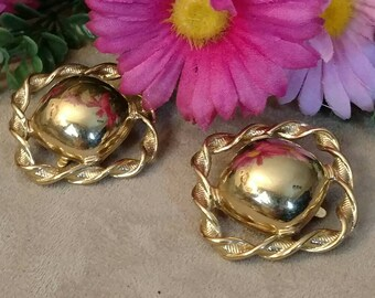 TRIFARI Clip On Earrings, Large Shiny Gold Tone, Textured Edging, Twist Pattern, Marked
