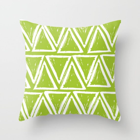 OUTDOOR Throw Pillow . Lime Outdoor Pillow . Lime Green patio cushion . Modern Geometric Pillow Triangle . 16 18 20 inch . Lumbar Pillow