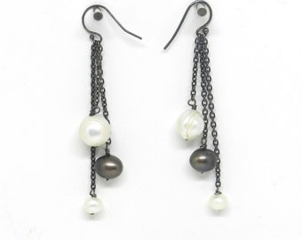 Rockin' the Pearls: Black and White Pearl Dangle Earrings
