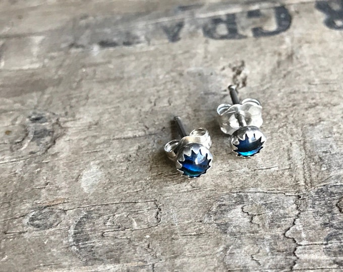 Natural Paua Shell Stud Earrings || Sterling silver Studs || Earrings Sterling Silver Small Earrings