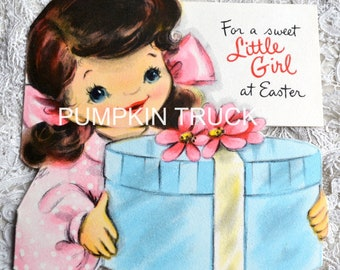 Vintage Easter Card - Girl with Glitter Flower Hat Box - Used Hallmark