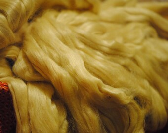 Tussah Silk Roving   Silk Sliver   Wild Silk Fiber   Tussah Spinning Fiber   Silk Doll Hair   Silk Wig Hair   4 ounces Roving, 4 oz