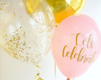 Pink and Gold Balloon Trio | Gold Confetti Balloon | Gold Foil Balloon | Pink Calligraphy Balloon