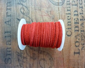 Suede Leather Cord 3mm Wide Red Suede Cording Leather Cord Bulk Spool Leather Cord (1 Spool) Red