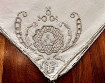 Vintage Linen Embroidery Ecru Luncheon Napkins Set of 8