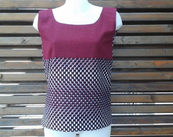 Top in cotton and linen mix
