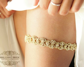 Gold Rhinestone Garter - Silver and Gold Wedding Garter, gold garderbelt, Gold garder, gold bling garter, wedding garder, gold chain garter