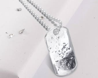 Sterling silver memorial ashes/hair imprinted dog tag