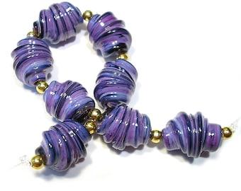 Handmade Glass SRA  Lampwork Beads, Purple Rose Whirled Beads