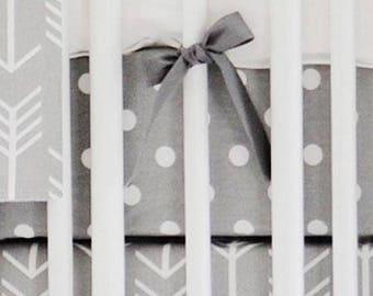 Gray Arrow Wanderlust in Gray Crib Baby Bedding | Crib Sheet