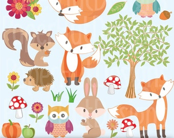 Woodland Animal Clipart-Winter Woodland Animals-Tree Clipart-Fox-rabbit-squirrel and owl Clipart-Personal or Commercial Use-BUY2GET1MOREFREE