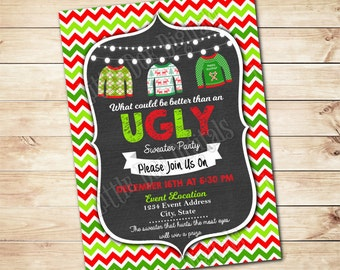 Personalized Ugly Sweater Christmas Party Invitation 5x7 or 4x6 - Printable Digital File