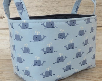 Sale / Clearance - READY TO SHIP - Fabric Organizer Storage Bin Container Basket - Blue Whales on Light Blue - Nursery Baby Room Decor
