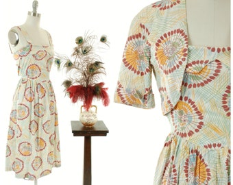 Vintage 1950s Dress - Cheerful Floral Print Cotton 50s Sundress and Matching Bolero Set
