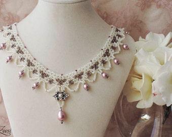 Victorian Necklace, Pearl White Lace Necklace, Bronze and Dusty Rose Bridal Necklace