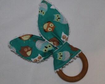 Teal Woodland Owls Rabbit Ears Maple Teething Ring