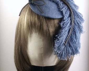 Recycled Jeans/Denim Feather Facinator with Zipper Bow