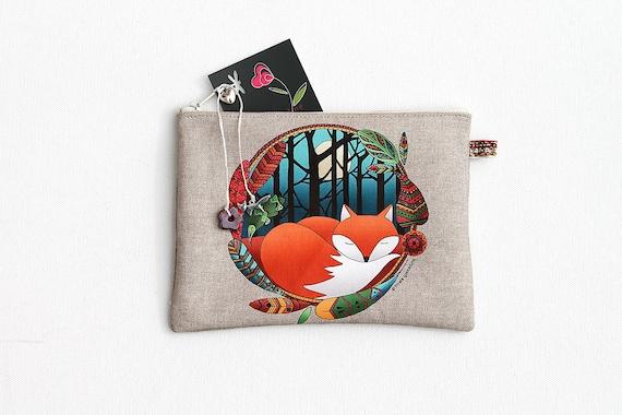 """Fox totem"" illustrated linen multipurpose Pocket"