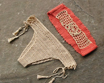 Crochet bikini with tassels, Bandeau swimsuit, Crochet bikini bottom, Brazilian bikini, Bandeau bikini bra, Salmon, cream beachwear