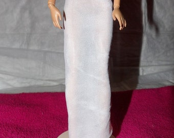 Fashion Doll Coordinates - Long white polyester knit slip - es387