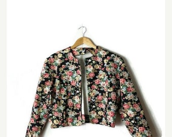 ON SALE Vintage Black x Floral Cropped collarless Cotton Jacket from 1980's*