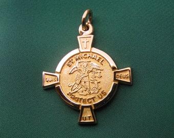 St Michael Medal 14k Gold Archangel Patron Saint Of Police