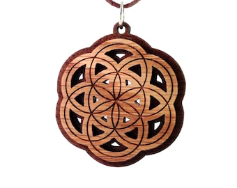 Seed of Life Two Layer Wooden Pendant - Sustainable Walnut and Oak Wood Sacred Geometry Necklace Bead - Flower of Life