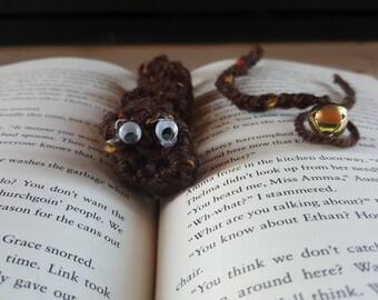 "Brown book mark ""bookworm"""