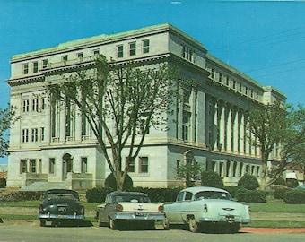 Vintage 1950s Postcard Texas Stevens County Courthouse Building Government Architecture Breckenridge Photochrome Era Postally Unused
