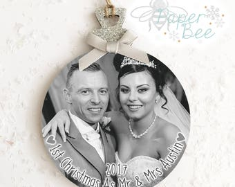 Handmade Personalised Photo Christmas Bauble Wood Plaque/Sign Picture Decoration Xmas Tree Gitter