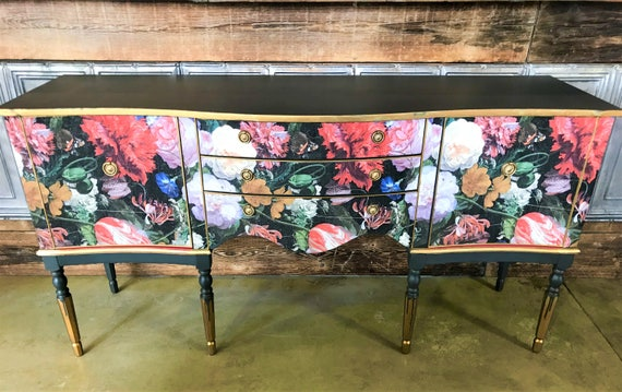 SOLD! Commissions on request. Stunning Regency style vintage sideboard (70s) upcycled in bold Dutch floral print