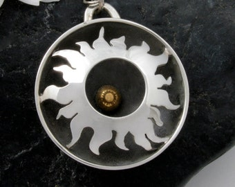 Sterling Silver Sun Necklace with 14K Gold - silver sun pendant - sterling sun necklace - silver sun necklace