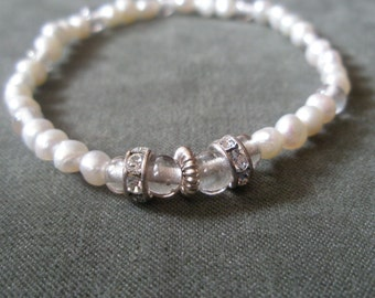 White Pearl Rhinestone Wedding Bracelet Stretch Tennis Bracelet