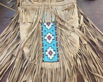 Bohemian hand beaded fringe bag