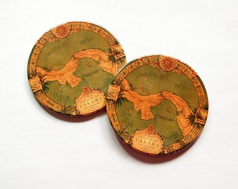 Panama Canal Coasters, Travel Coasters, Drink Coasters, Set of Coasters, Barware, Home Decor, Coasters, Travel, Panama Canal (5989)
