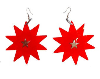 Star Bright Earrings - Red Star Shaped PVC Earrings - Party Earrings with Silver plated earring fish hooks